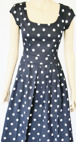 Navy White Spot Dress S8